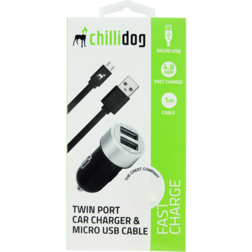 Chillidog Car Charger Usb Twin Port Micro Cable Single