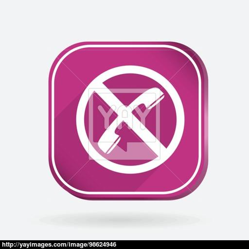 Forbidden To Use Phone Color Square Icon Vector