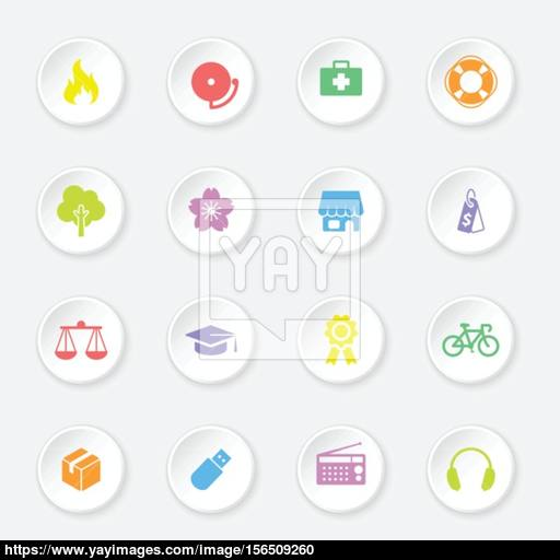 Colorful Web Icon Set On White Circle Button With Soft Shadow
