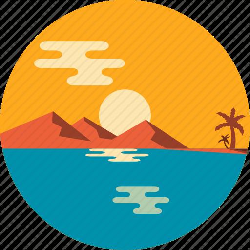 Beach, Island, Ocean, Summer, Tourism, Twilight, Vacation Icon