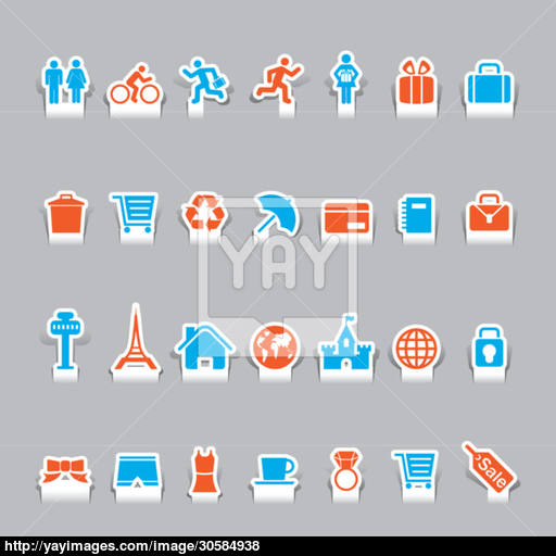 Paper Cut Vacation Icons And Travel Icon Vector