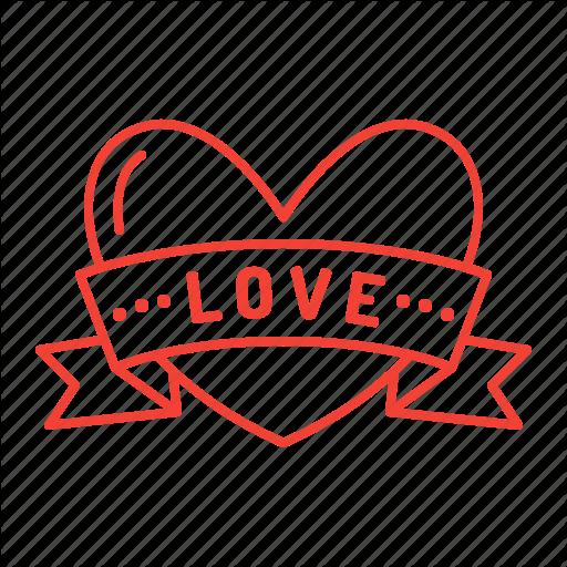 Heart, Love, Ribbon, Valentine, Valentine's Day Icon