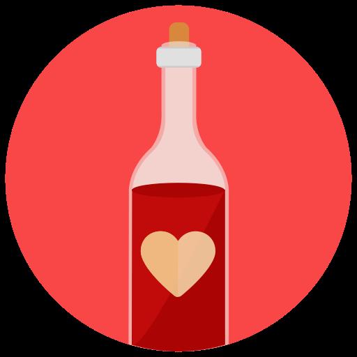 Wine, Valentine Day, Dinner, Bottle, Love, Heart Icon Free