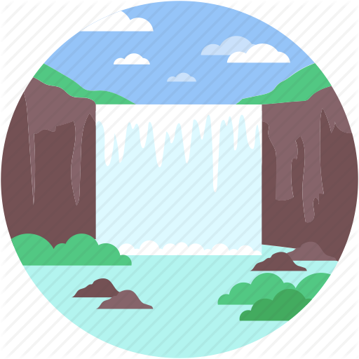 Nature, River, Valley, Waterfall, Waterfall Valley Icon
