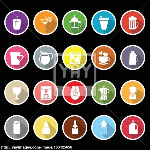 Variety Drink Icons With Long Shadow Vector