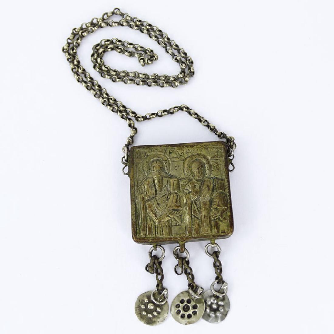 Century Or Earlier Greek Silver Icon Reliquary
