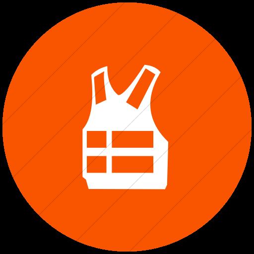 Flat Circle White On Orange Classica Life Vest Icon