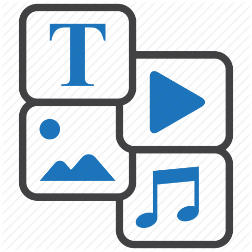 Content, Development, Entertainment, Image, Music, Text, Video Icon