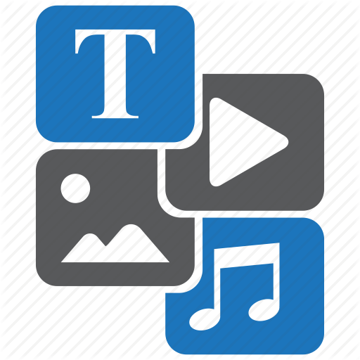Content, Development, Image, Sound, Text, Video, Web Icon