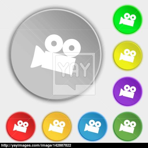 Video Camera Sign Icon Content Button Symbols On Eight Flat