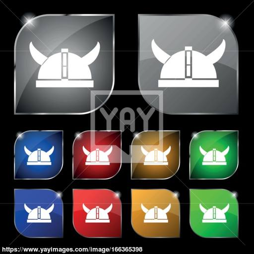 Viking Helmet Icon Sign Set Of Ten Colorful Buttons With Glare