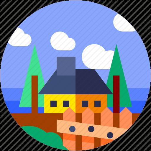 Circle, Flat Icon, House, Landscape, Trees, Village Icon