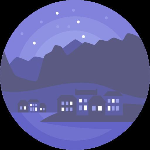Night, Nature, Landscape, Scenery, Village Icon