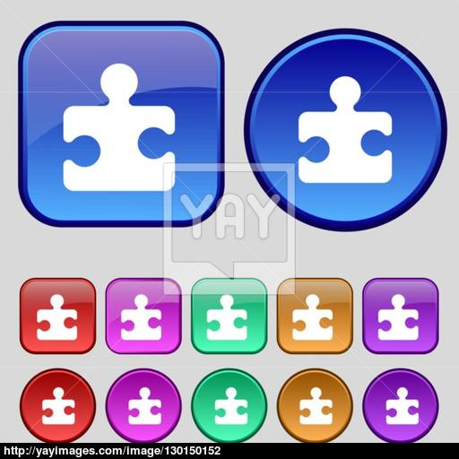 Puzzle Piece Icon Sign A Set Of Twelve Vintage Buttons For Your