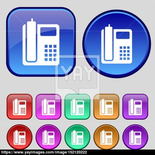 Home Phone Icon Sign A Set Of Twelve Vintage Buttons For Your