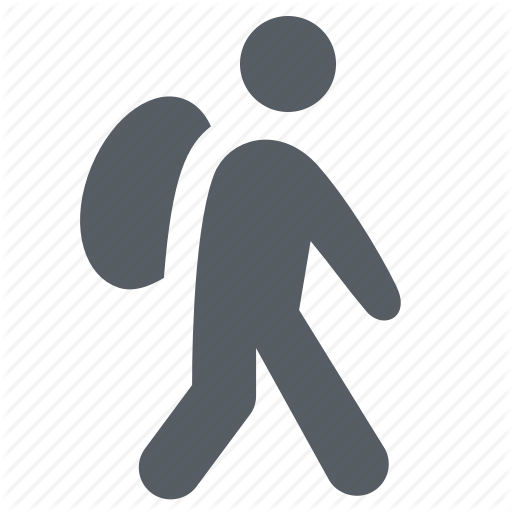 Backpack, Hiking, Man, People, Walking Icon