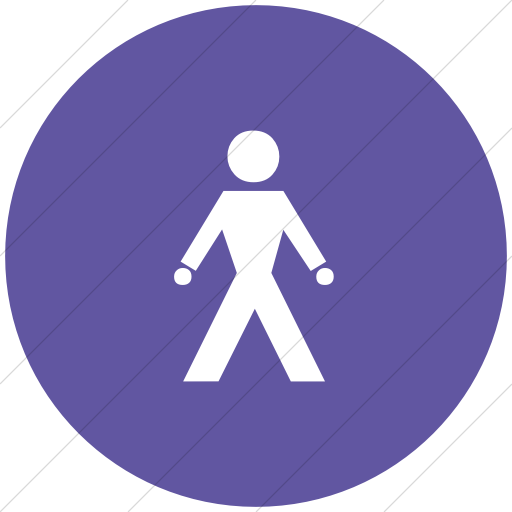 Flat Circle White On Purple Classica Walking Man Icon