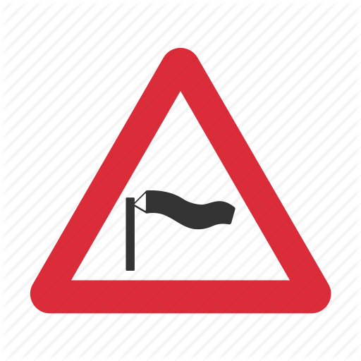 Caution, Danger, Side Wind, Traffic Sign, Warning, Warning Sign Icon