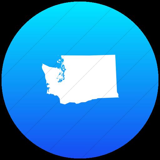 Flat Circle White On Ios Blue Gradient Us States
