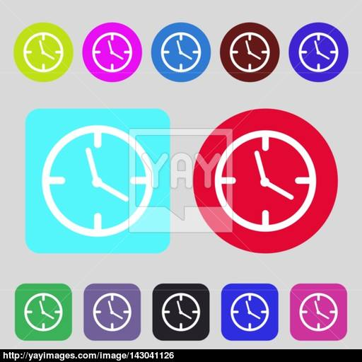 Clock Time Sign Icon Mechanical Watch Symbol Colored Buttons
