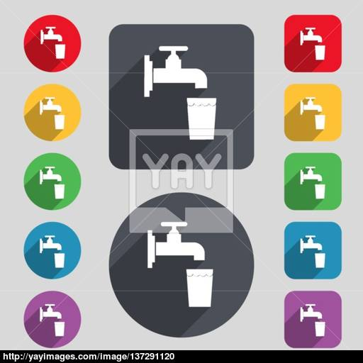 Faucet, Glass, Water Icon Sign A Set Of Colored Buttons