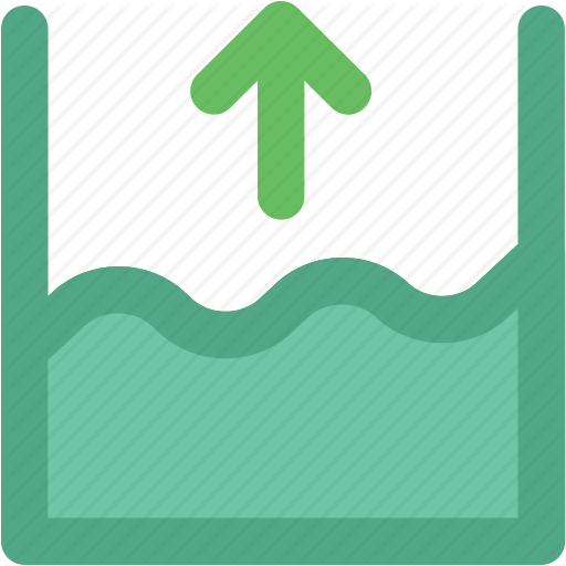 Flood Height, Ocean Height, River, Sea Level, Seawater, Up Arrow