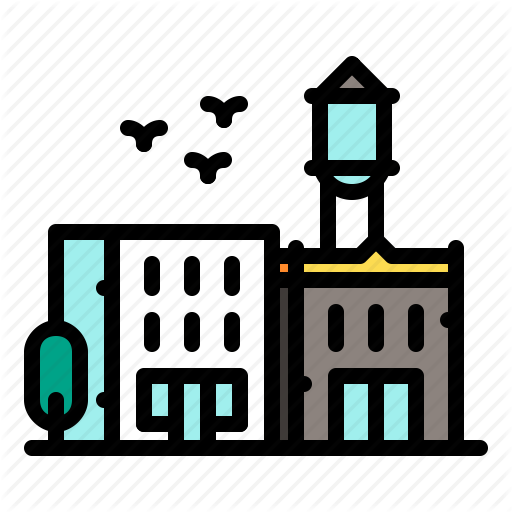 American, Building, City, Stores, Water Tower Icon