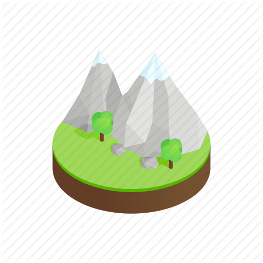 Isometric, Mountain, Nature, Outdoor, Peak, Rock, Waterfall Icon