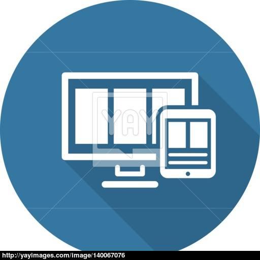 Fully Responsive Web Design Icon Flat Design Long Shadow Vector