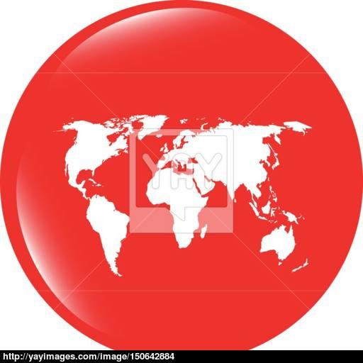Vector Globe Icon, Earth World Map On Web Button Vector