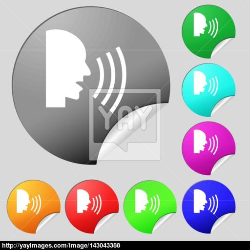 Talking Flat Modern Web Icon Set Of Eight Multi Colored Round