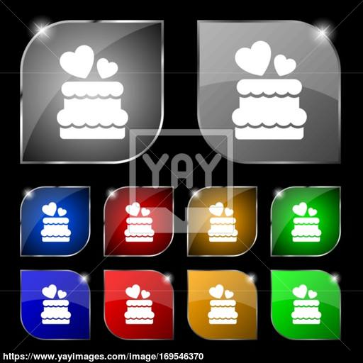 Wedding Cake Icon Sign Set Of Ten Colorful Buttons With Glare