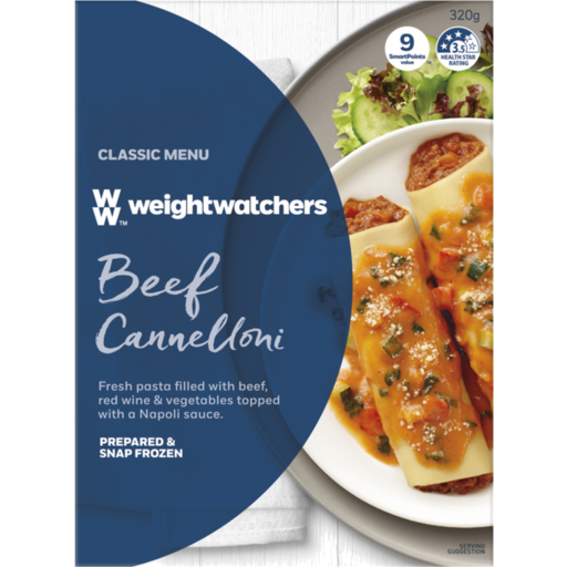 Weight Watchers Classic Menu Beef Cannelloni