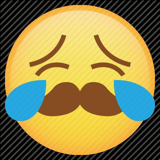 Emoji, Emoticon, Mustache, Sad, Smiley, Tears, Weird Icon