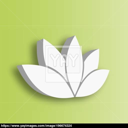 Lotus Flower Icon On Green Gradient Background Wellness, Spa
