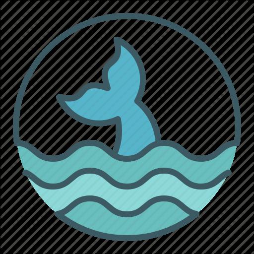 Circle, Fin, Fish, Ocean, Sea, Whale Icon
