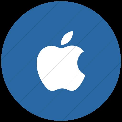 Flat Circle White On Blue Social Media Apple Icon