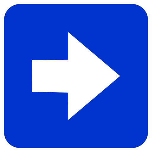 Right Pointing White Arrow In Blue Rounded Square