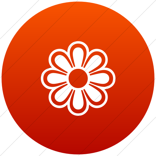 Flat Circle White On Red Gradient Classica Flower Icon