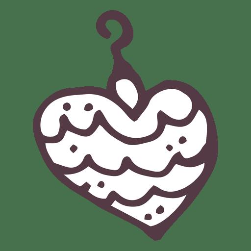 Christmas Ball Heart Shape Hand Drawn Icon