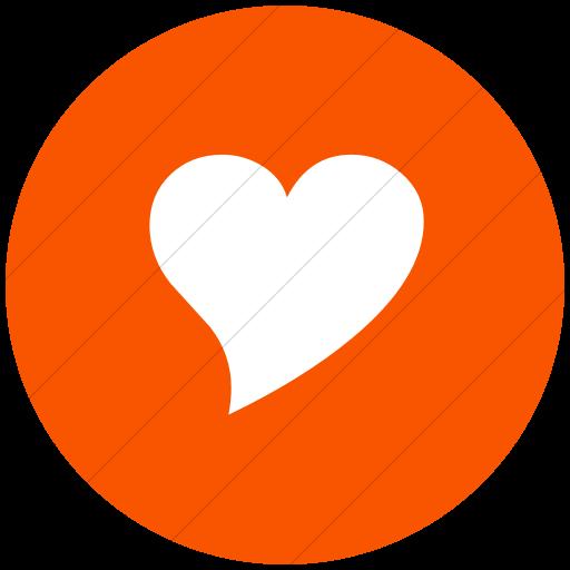Flat Circle White On Orange Classica Styled Heart Icon
