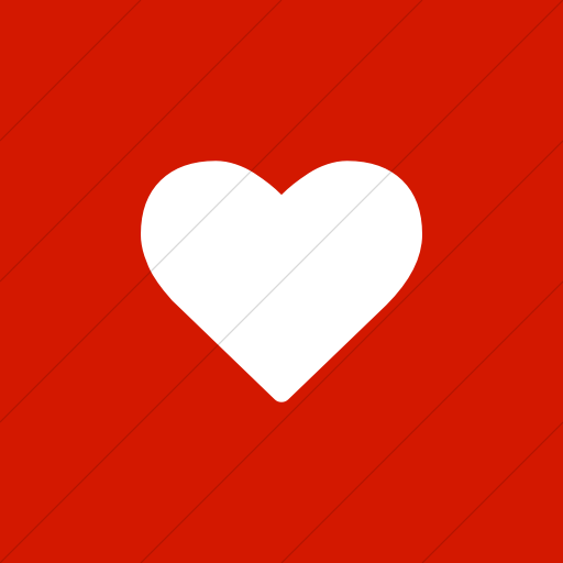 Flat Square White On Red Bootstrap Font Awesome Heart Icon