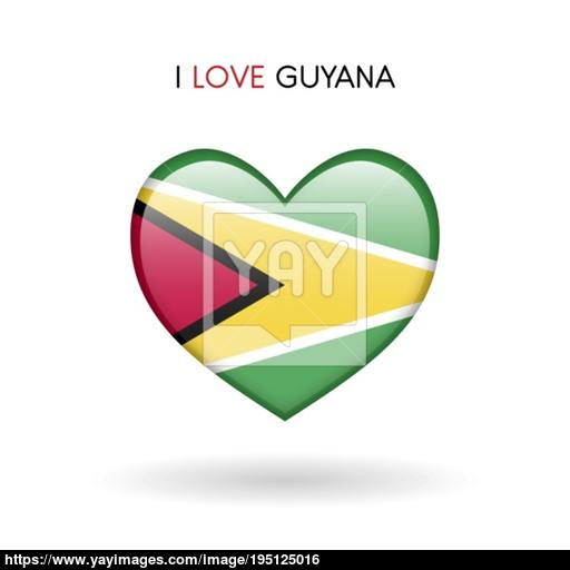 Love Guyana Symbol Flag Heart Glossy Icon On A White Background
