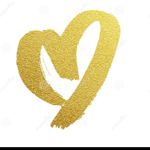 Cropped Gold Heart Hand Drawn Vector Icon Golden Foil White