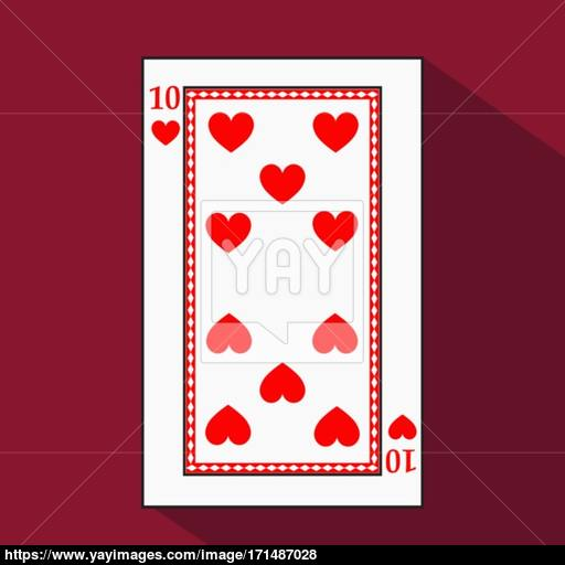 Playing Card The Icon Picture Is Easy Heart Ten With White