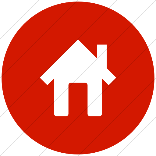 Flat Circle White On Red Broccolidry House Icon