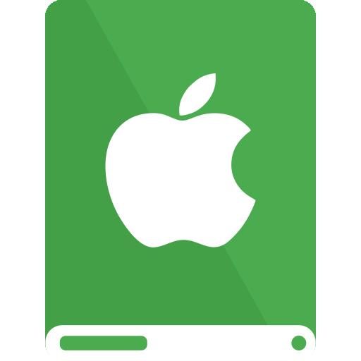 Apple, Drive, Green, White Icon