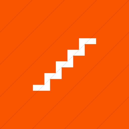 Flat Square White On Orange Aiga Stairs Icon