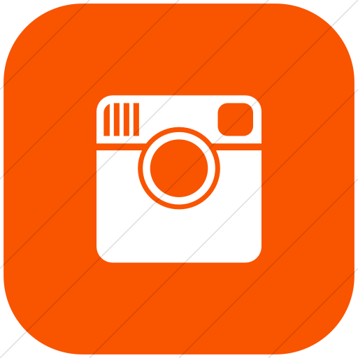 Flat Rounded Square White On Orange Foundation Social