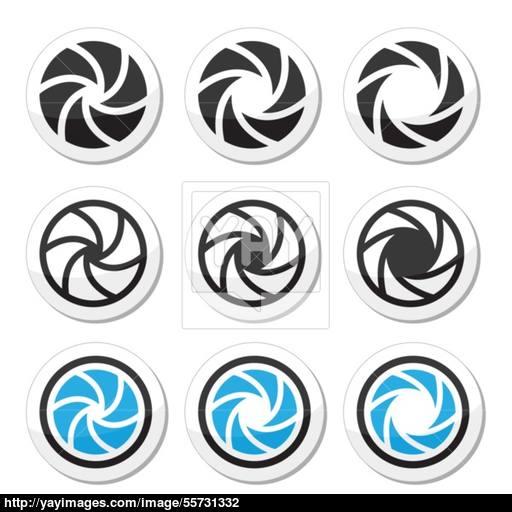 Camera Shutter Aperture Vector Icons Set Vector